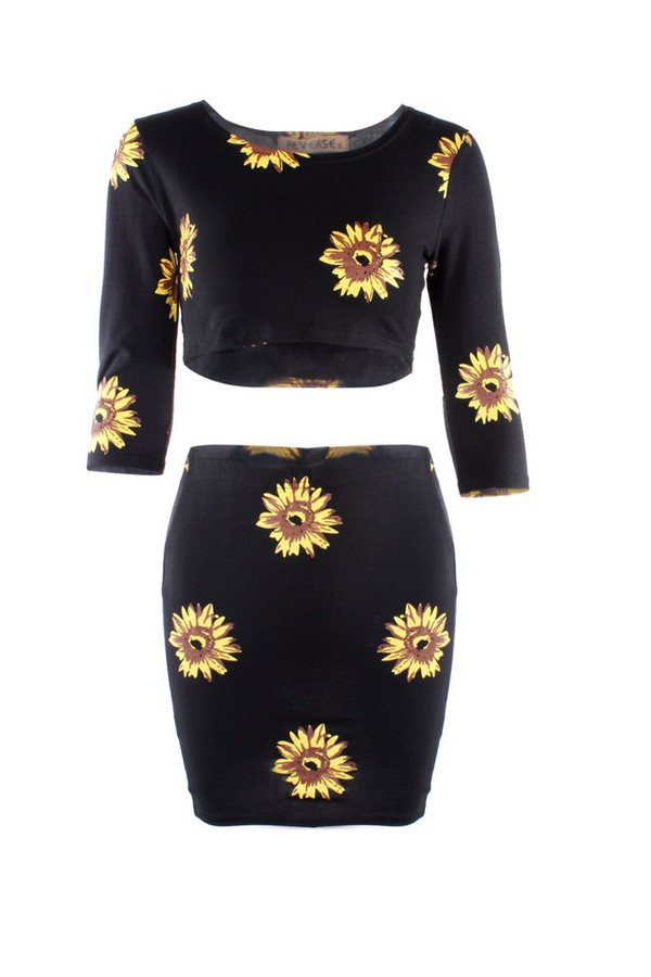 sunflower dress black sunflower sunflower crop top sunflower skirt