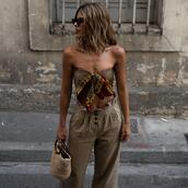 ms treinta,blogger,scarf,pants,bag,sunglasses,tie-front top,basket bag