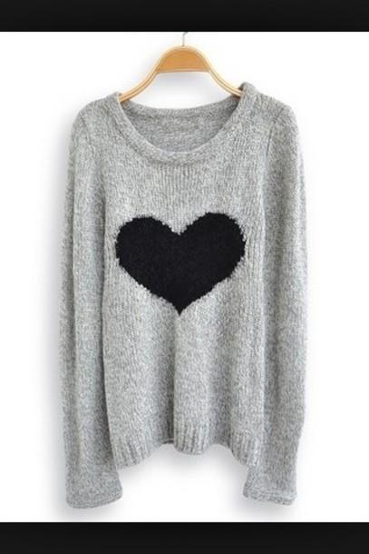 Sweater Grey Grey Black Heart Wheretoget