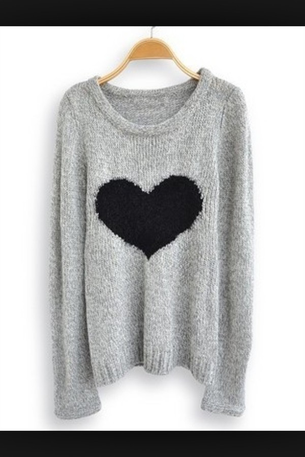 grey grey black heart sweater grey sweater