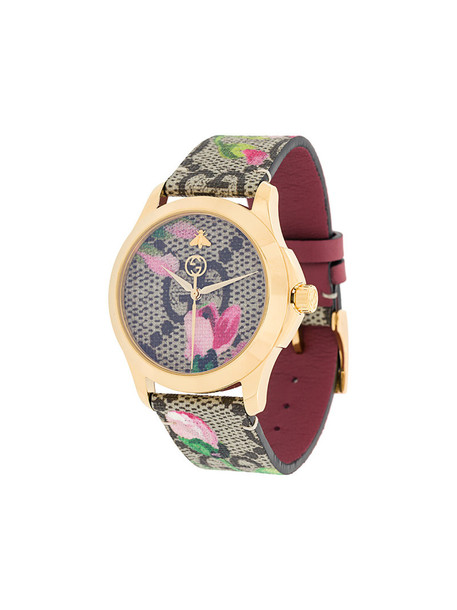 Gucci - floral strap watch - women - Leather/Brass - One Size