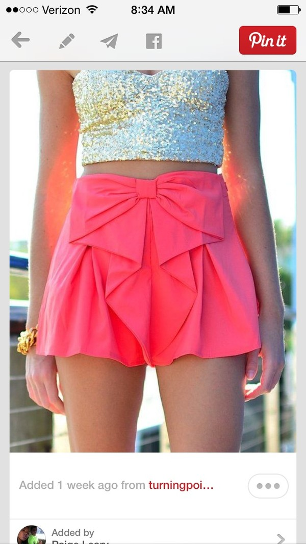 skirt shorts blouse gold sequins pink with a cute bow top