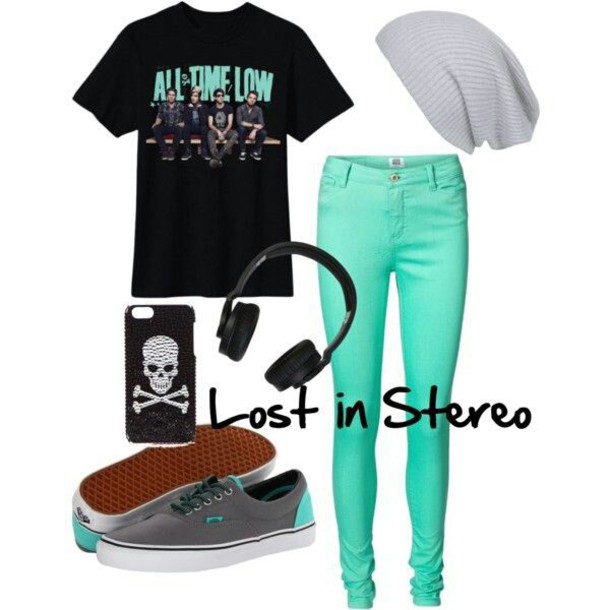 jumpsuit electrick blue headphones all time low grey skull punk in style