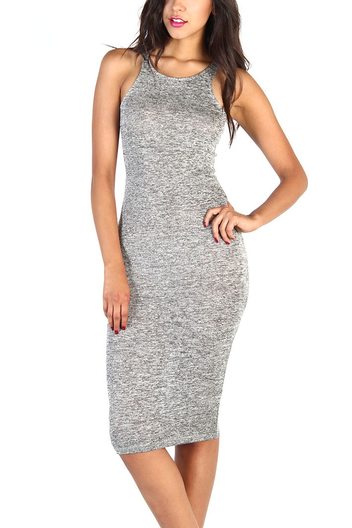 Solid Stretch Dress - Gray