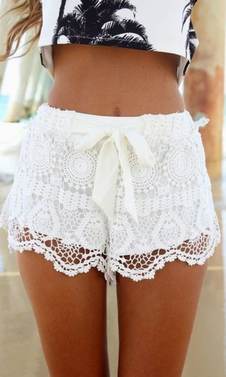 shorts white lace shorts palm tree top