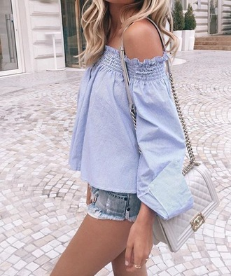 top off the shoulder off the shoulder top blue top tumblr outfit tumblr long sleeves bag grey bag chain bag shoulder bag chanel chanel style jacket shorts distressed denim shorts denim shorts summer outfits