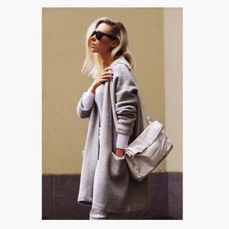 martina m blogger grey coat leather bag