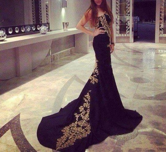 dress sequin dress lace mermaid prom dresses long evening dresses evening dress black gold gold sequins celebrity dresses strapless strapless dress mermaid/trumpet