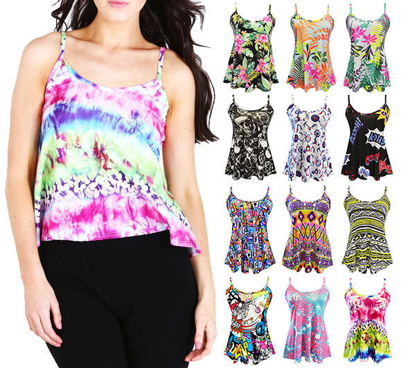 New womens ladies cami sleeveless swing straps floral aztec vest top size 8