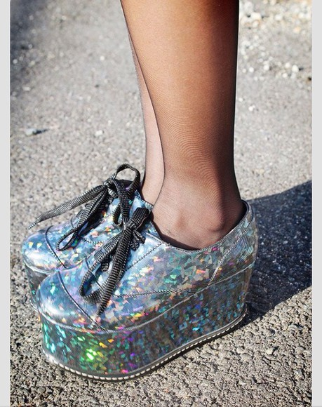 shoes sparkle holographic space