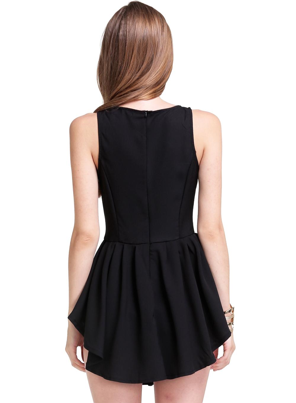 Black Sleeveless Asymmetrical Pleated Flare Dress - Sheinside.com