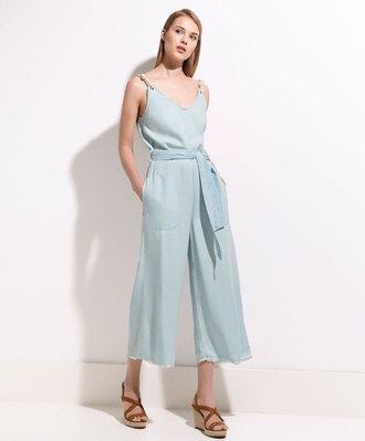 jumpsuit cropped pants frayed denim beach