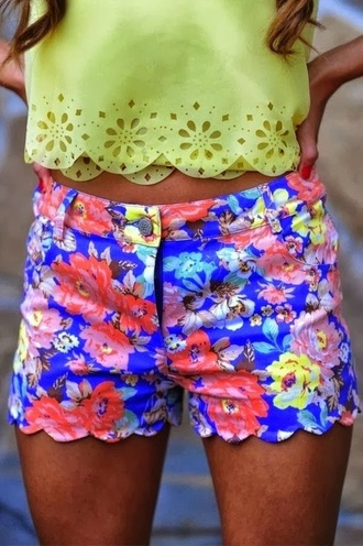 shorts floral neon spring