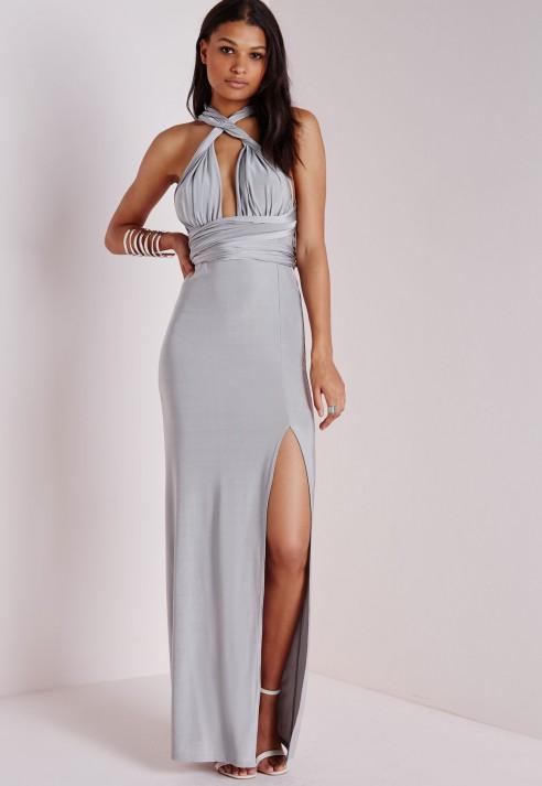 e1852438345 Multi Way Slinky Maxi Dress Grey - Dresses - Maxi Dresses - Missguided
