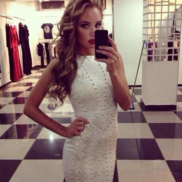 dress studded dress white dress rhinestones rhinestone dress bodycon dresses
