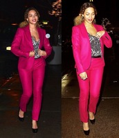 pants,beyonce,blazer,pink,suit,jacket,pink pants