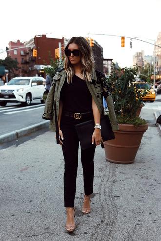 somewherelately blogger top pants bag jacket shoes belt sunglasses gucci belt sandals army green jacket