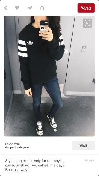 jacket adidas sweater black and white stripes adidas trefoil