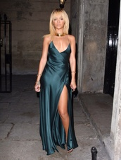 dress,silk,leg slits,backless dress,prom dress,rihanna green dress,satin,satin dress,silk dress,green dress,rihanna,slit,spaghetti strap,gown,vma,blue,yellow,lavender,rihanna silk dress