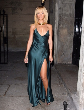 dress silk leg slits backless dress prom dress rihanna green dress satin satin dress silk dress green dress rihanna slit rita ora spaghetti strap gown vma blue yellow lavender rihanna silk dress wrap dress maxi dress forest green