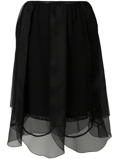 skirt women layered black silk