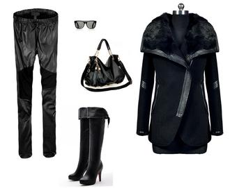 coat fur collar pants bag shoes