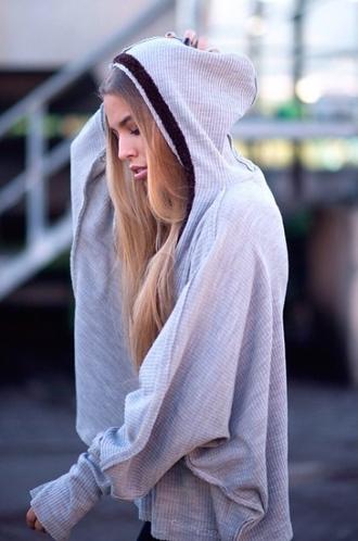 cardigan grey hoodie sweater casual pullover streetwear streetstyle bat sleeves big sleeves grunge