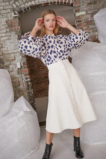 Evie Skirt in Ivory Corduroy