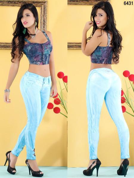 Light Blue Skinny Jeans 6431 | Yallure