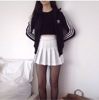 skirt grunge adidas jacket adidas wings adidas superstars adidas originals adidas sweater adidas tracksuit bottom athletic girly tumblr outfit tumblr girl american apparel skater skirt tights shirt tumblr black dress black white dress white coach jacket