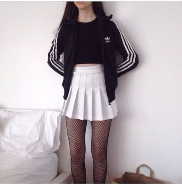 skirt grunge adidas jacket black black and white pale tennis skirt tights white skirt pleated skirt mini skirt pleats black fishnets fishnet tights adidas wings adidas superstars adidas originals adidas sweater adidas tracksuit bottom athletic girly tumblr outfit tumblr girl american apparel skater skirt shirt tumblr black dress white dress white coach jacket
