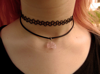 jewels rose quartz pastel goth goth soft grunge crystal quartz stone choker necklace necklace
