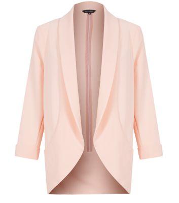 Pink Open Front Longline Blazer