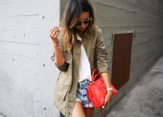 sincerely jules blogger jacket t-shirt shorts parka bag