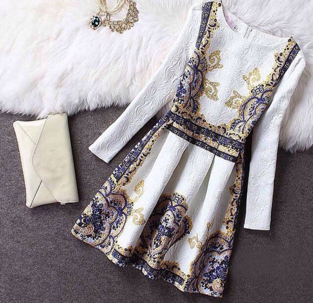 Cute fashion long sleeve flower dress