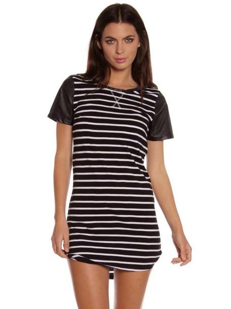 dress black and white striped teeshirt dress