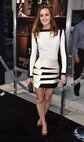 dress black and white dress leighton meester