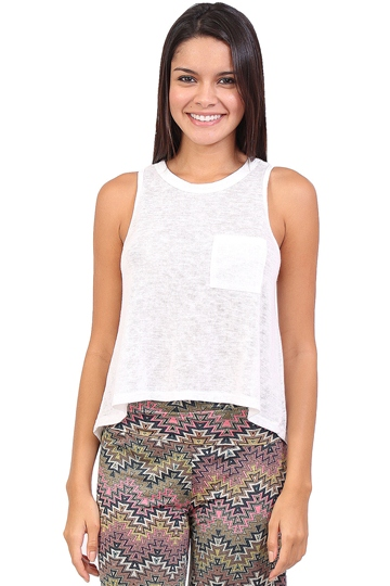 White Knit Pocket Crop Tank at Blush Boutique Miami - ShopBlush.com