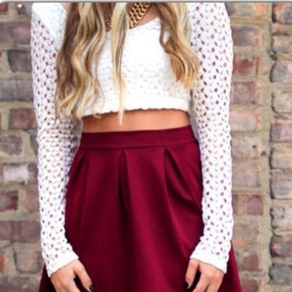 white holes shirt skirt long sleeve