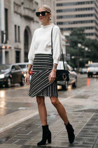 fashionjackson blogger sweater skirt shoes bag sunglasses jewels fall outfits ankle boots boots white sweater shoulder bag tumblr midi skirt asymmetrical knit knitted sweater black boots office outfits