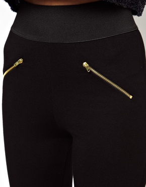ASOS Petite | ASOS PETITE Exclusive High Waist Leggings With Elastic Waist and Gold Zipper details at ASOS