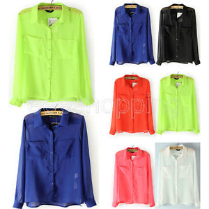 S M L New Women Long Sleeve Chiffon Blouse Button Down Shirt Tops 2 Pockets Q429 | eBay