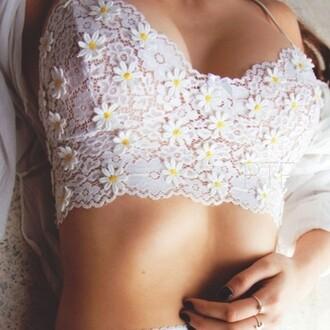 top flowers floral pattern crop tops cute girly underwear top white summer