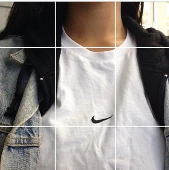 kendall jenner black shirt jacket jeans white nike air nike t-shirt kylie jenner