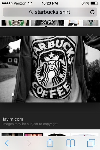 shirt starbucks coffee cotton white black dark green