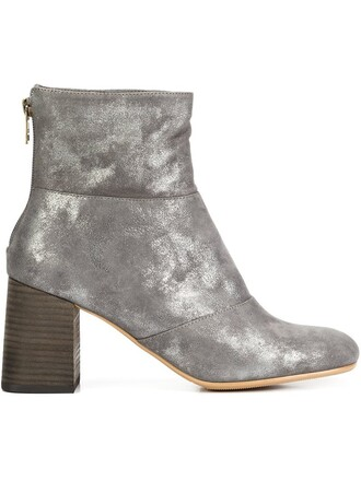 metallic boots ankle boots grey shoes