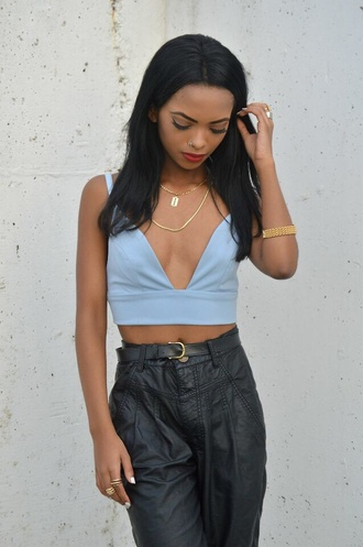 high waisted leather pants top