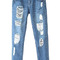 Blue shredded distressed skinny jeans