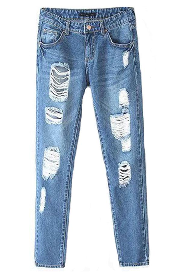 Blue Shredded Distressed Skinny Jeans