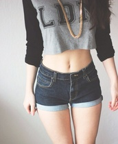 sweater,shorts,jewels,shirt,crop,denim,grey,black,jeans,crop tops,gold,gold chain,long sleeves,denim shorts,blue,top,necklace,blue jean shorts,white,bw,b&w,black and white tops,t-shirt,undefined,young,swag,shaved to the side,clothes,london,ldn,urban outfitters,cute,sexy,longsleeve crop top,skater,casual,grey shirt,black shirt,jeans short highwaisted,summer shorts,tumblr shorts,long sleeve crop top,black crop top